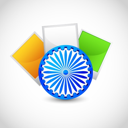 ashok: illustration of blank photo frame in Indian tricolor with Ashok Chakra Illustration