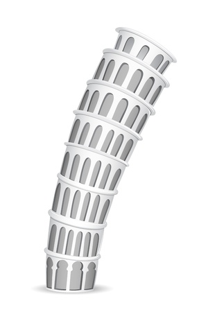 tower of pisa: illustration of Leaning Tower of Pisa on white background