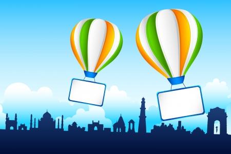 インド: インドの有名なモニュメントに熱気球トリコロールのイラスト