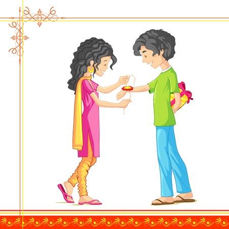 raksha: illustrazione di fratello e sorella legatura Rakhi il Raksha Bandhan Vettoriali