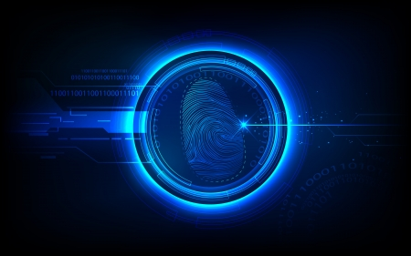 identity protection: illustration of abstract biometrics technology background