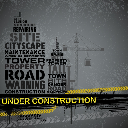 commercial construction: illustration of under construction background with typography Illustration