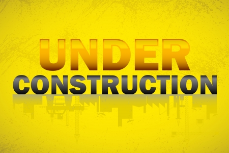 commercial real estate: illustration of under construction banner with text and building reflection