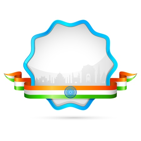 indian tricolor: illustration of India tricolor flag in badge with golden frame