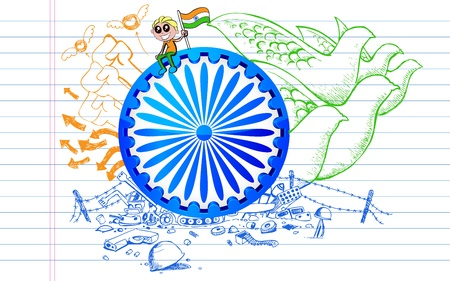 illustration of Ashok Chakra on tricolor peace doodle illustration