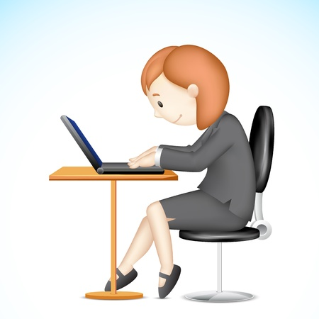 illustration of 3d business lady Vector
