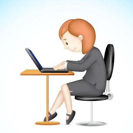 3d manager: illustration of 3d business lady Illustration