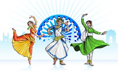 インド: 三色の衣装を実行するインドの古典的なダンサーのイラスト