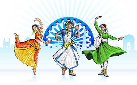 illustration of Indian classical dancer performing in tricolor costume Illustration