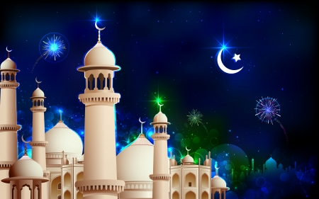 illustration of Eid Mubarak greeting on mosque backdrop illustration