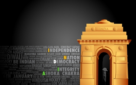 india gate: illustration of India gate on abstract flag tricolor background