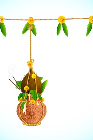 illustration of hanging dahi handi on Janmashtami background Vector