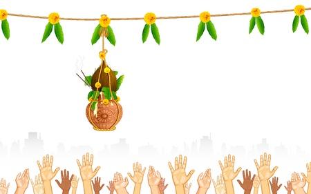 krishna: illustration of people catching dahi handi on Janmashtami background
