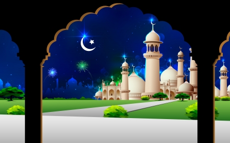 mughal: illustration of Eid Mubarak greeting on mosque backdrop