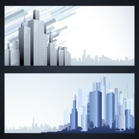 real estate background: illustration of high modern building in cityscape template