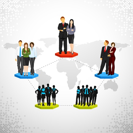 employer: illustration of connected people showing business networking Illustration