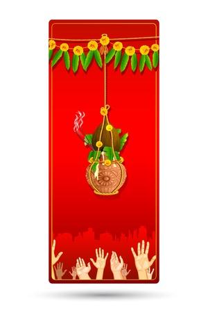 illustration of people catching dahi handi on Janmashtami background