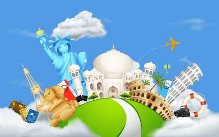 trip travel: illustration of historical monument on cloudscape
