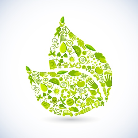 recycle sign: illustration of leaf shape made of recycle sign