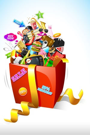 gift basket: illustration of sale product popping out of gift box