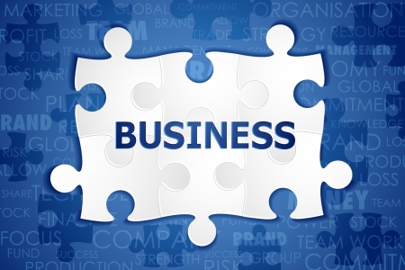 illustration of jigsaw puzzle with business text Vector
