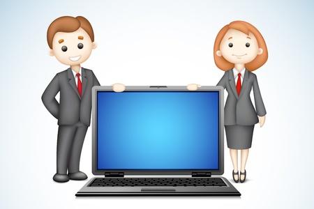 ilustraci�n de la gente segura de negocios 3D con el ordenador port�til