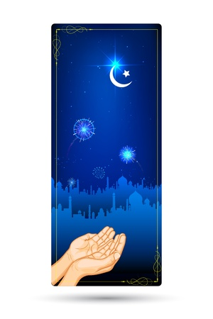 prayer hands: illustration of praying hand in front of mosque in Eid night Illustration