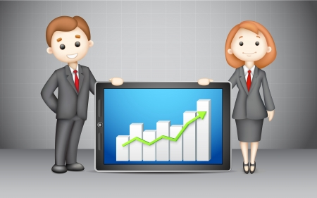 upward graph: illustration of confident 3d business people  with presenting company bar graph
