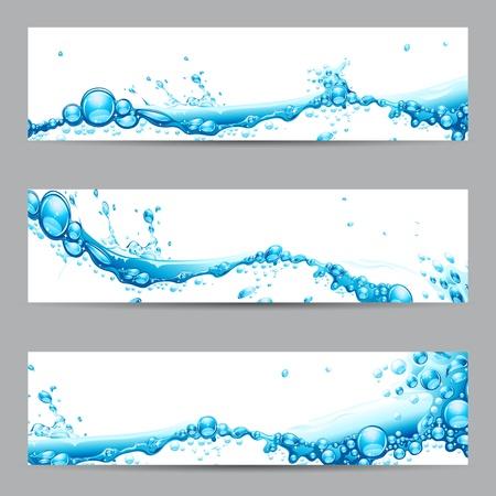 � gua: ilustra��o de um conjunto de banners com respingo da �gua Ilustra��o