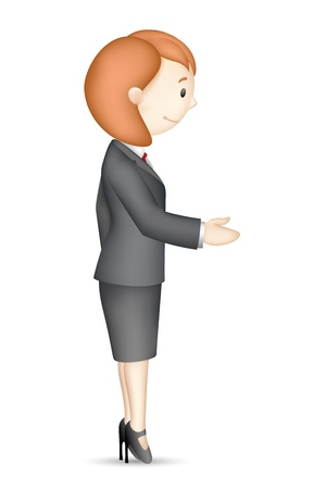 illustration of confident 3d business lady in handshake gesture Stock Vector - 14588858