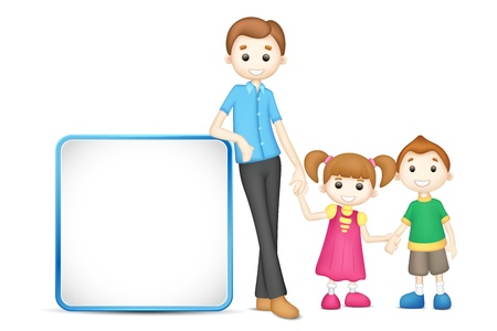 illustration of 3d happy family  fully scalable holding placard Vector