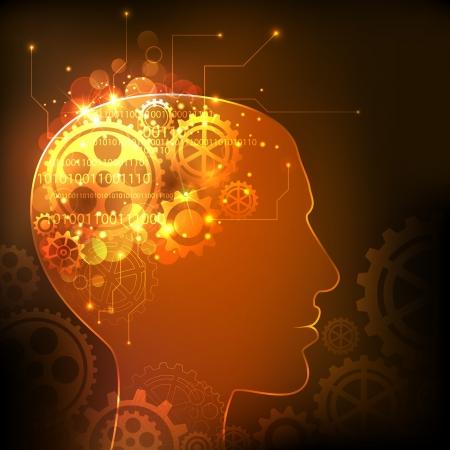 인간의 지능을 표시하는 인간의 마음에있는 톱니 바퀴의 그림 일러스트