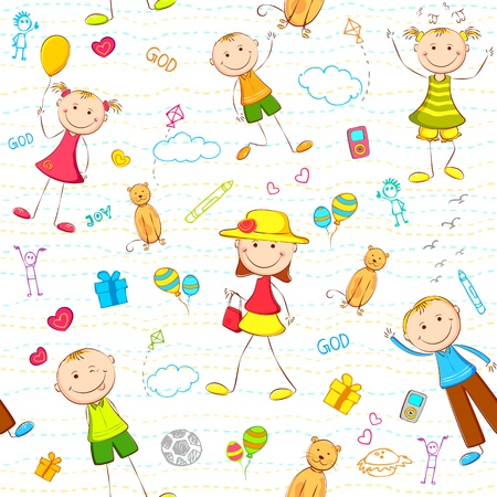 illustration of seamless pattern with kids enjoying birthday Vector