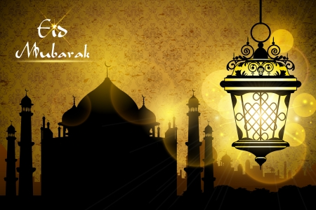 illustration of Eid Mubarak greeting with illuminated lamp Vector