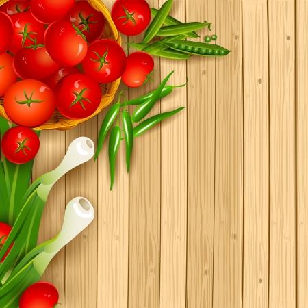 illustration of fresh vegetables on wooden chopping board