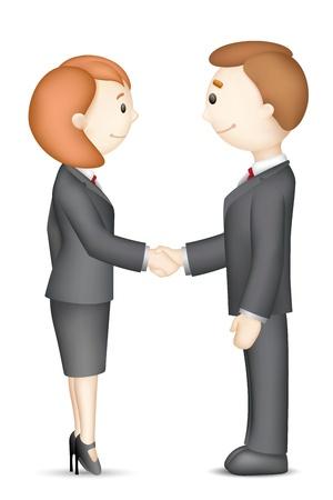 illustration of confident 3d business people in handshake gesture