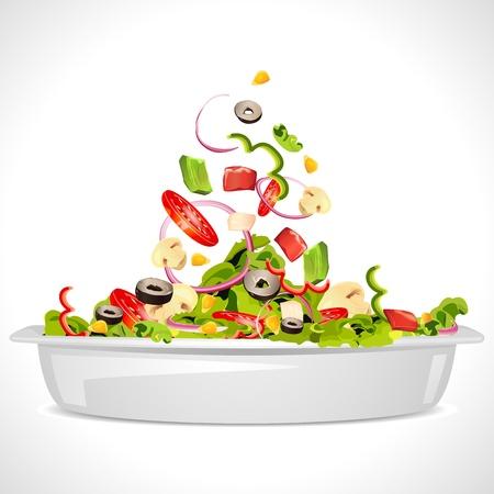 ensalada verde: ilustraci�n de cuenco lleno de ensalada de vegetales frescos