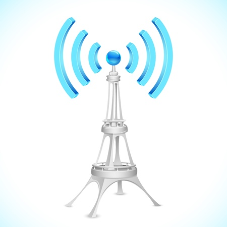 illustration of communication tower with  wave