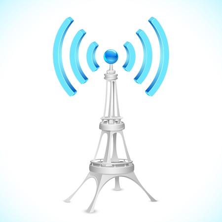 icono wifi: ilustraci�n de la torre de comunicaci�n con la onda
