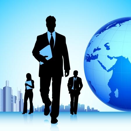 teamleider: illustratie van business team in de voorkant van wereld