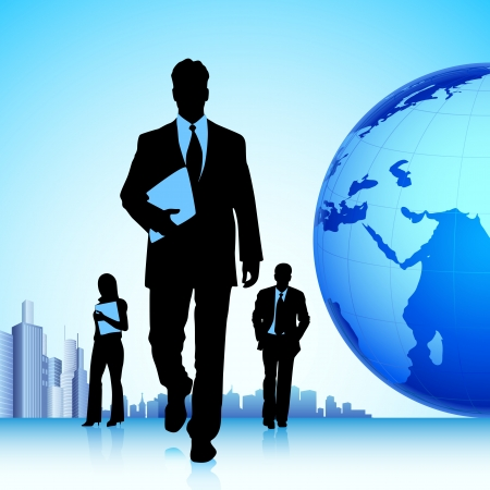 consultant: illustration of business team in front of globe