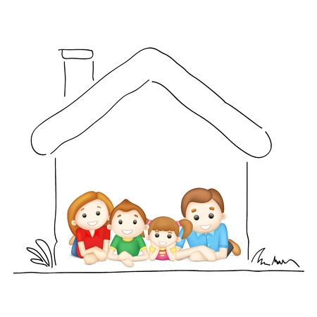 illustration of happy family laying in sweet home Çizim