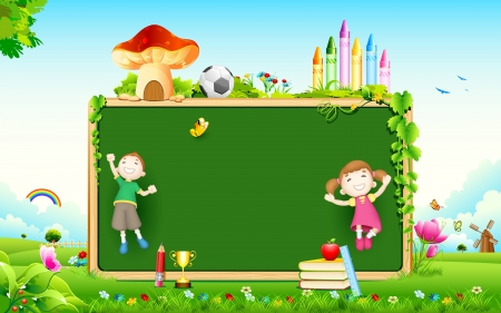 school class: illustration of school kid playing in front of blank board