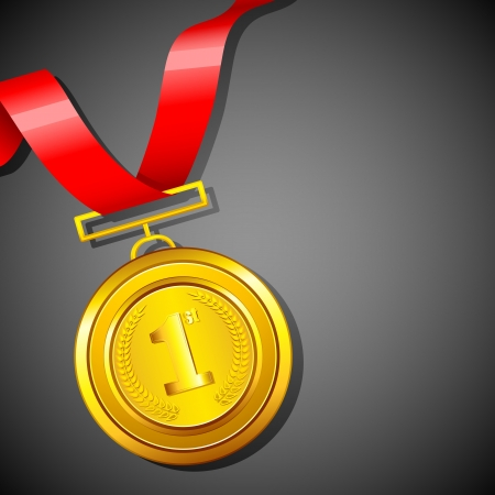 illustration of gold medal in red ribbon on abstract background Vector