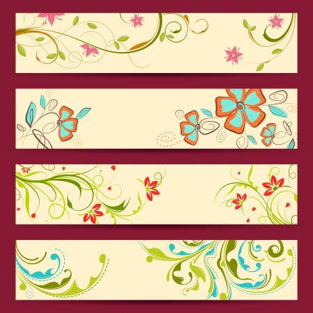 modern garden: illustration of set of colorful floral banner Illustration