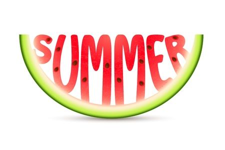 summer vegetable: illustration of summer word carved in watermelon Stock Photo