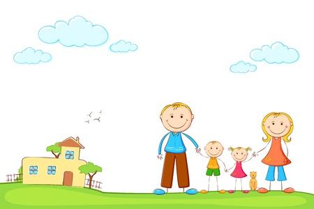 lifestyle family: ilustraci�n de la familia feliz en la casa de dulce, por la que se