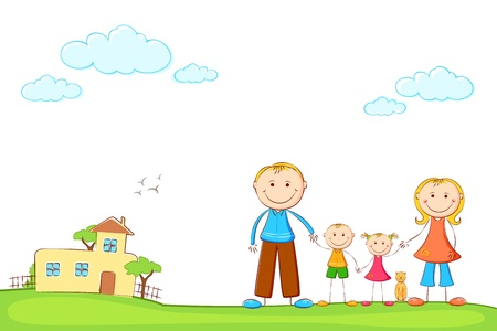 ilustraci�n de la familia feliz en la casa de dulce, por la que se