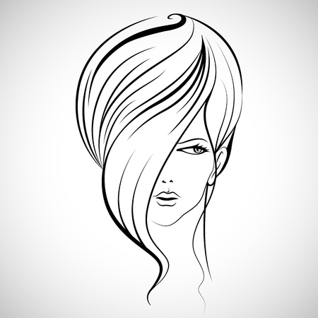 illustration of beautiful lady in with hairstyle Illustration
