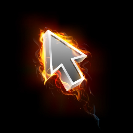 fast computer: illustration of mouse pointer arrow in fire blaze Stock Photo